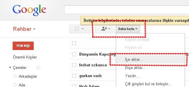 gmail kişileri içe aktar