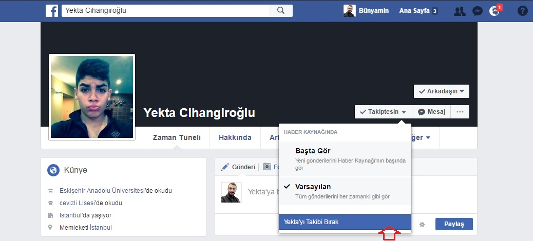 facebook takibi bırak
