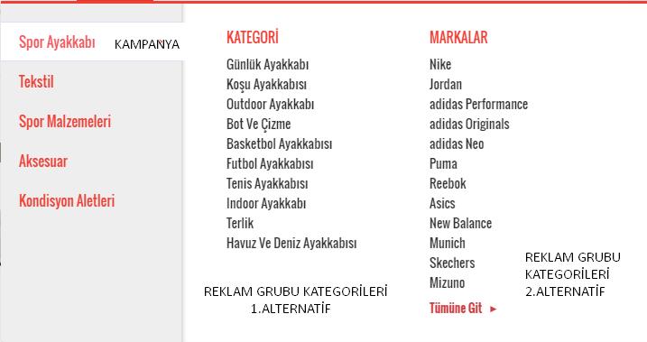 kampanya reklam grubu kategorileri